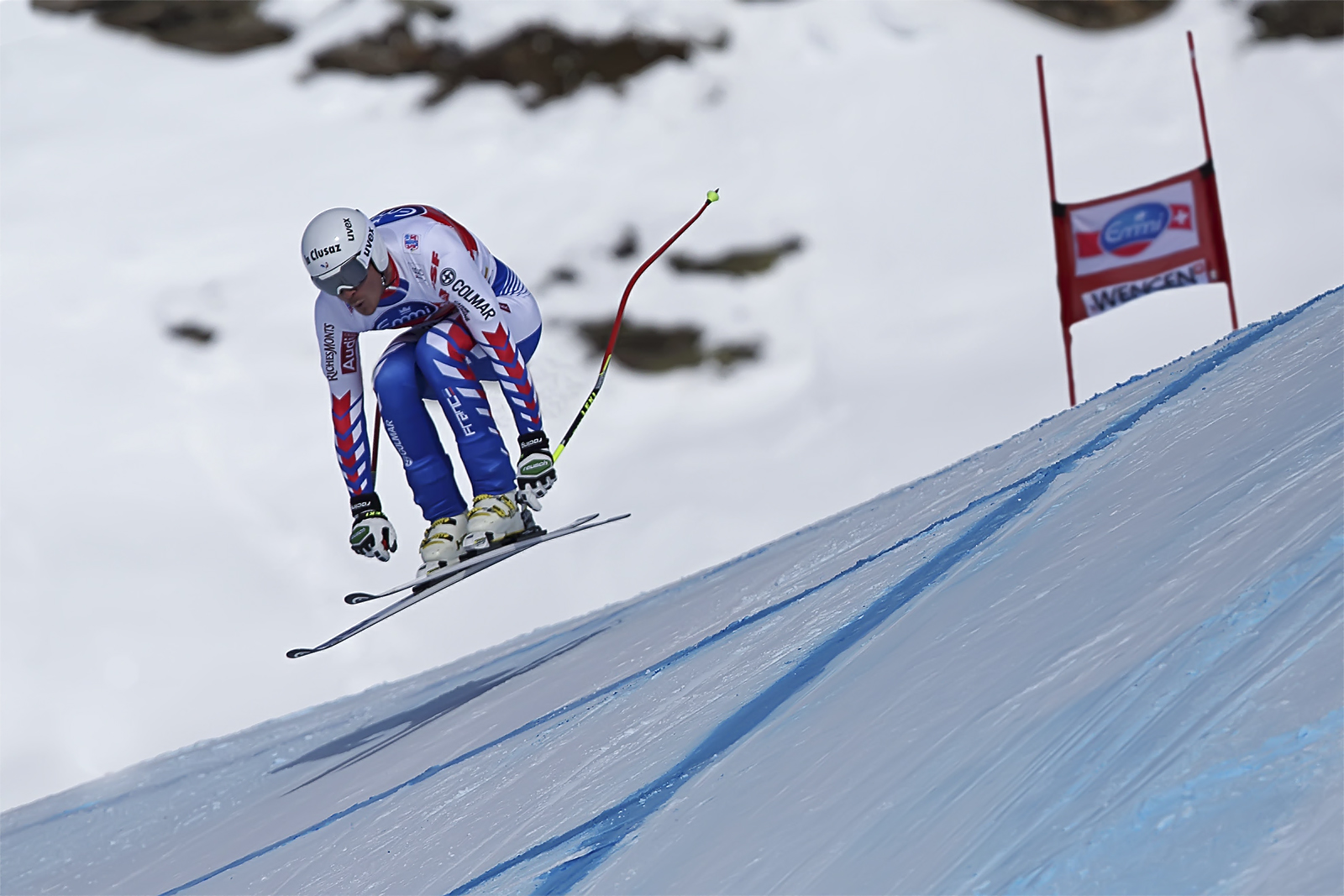 Johan Clarey, France, world record for the fastest downhill 169.1 Km/Hr.