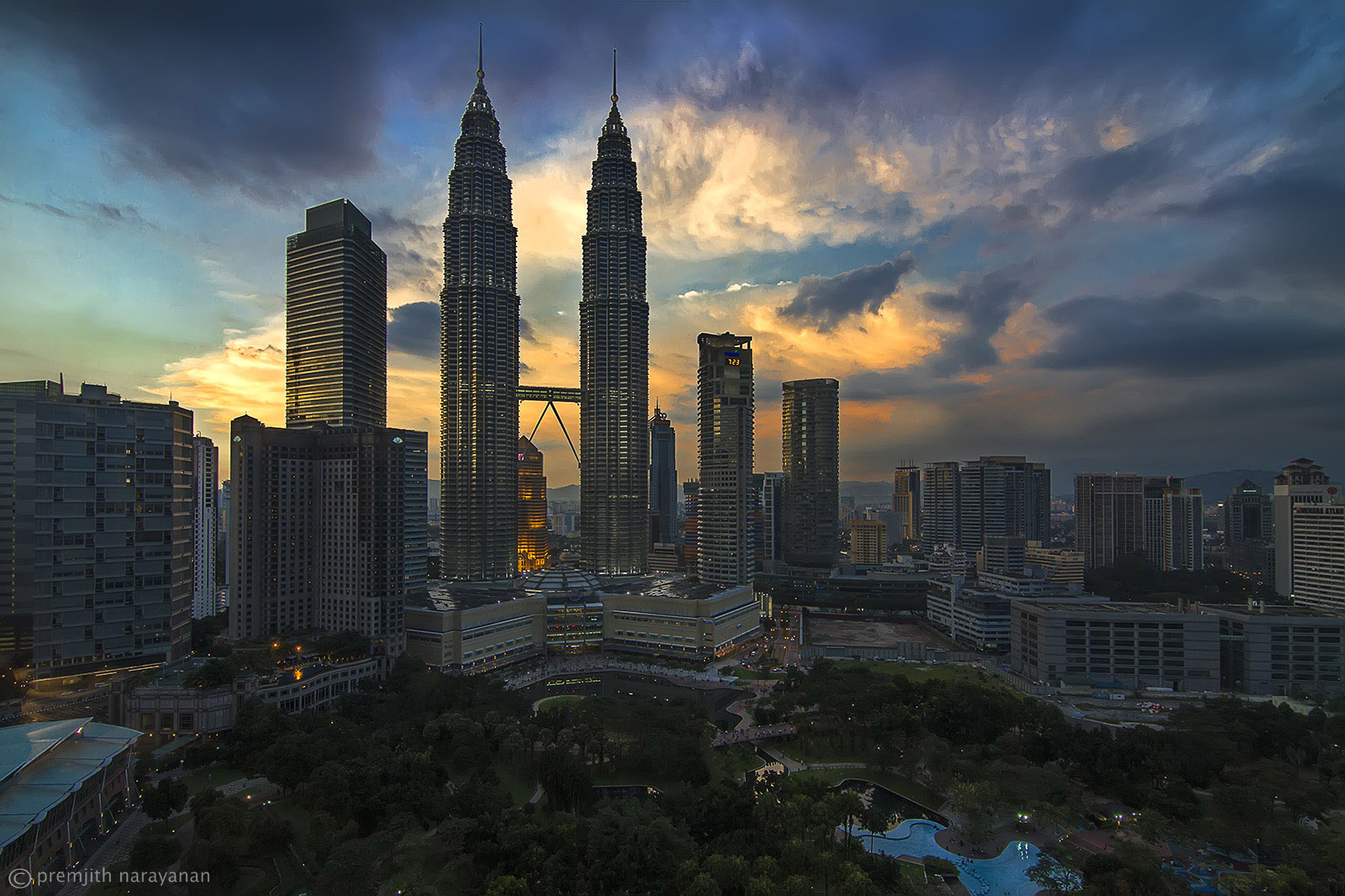 View of the Twin Towers after dusk.