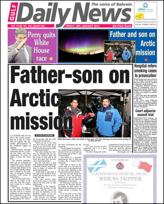 Gulf Daily News, To Arctic..