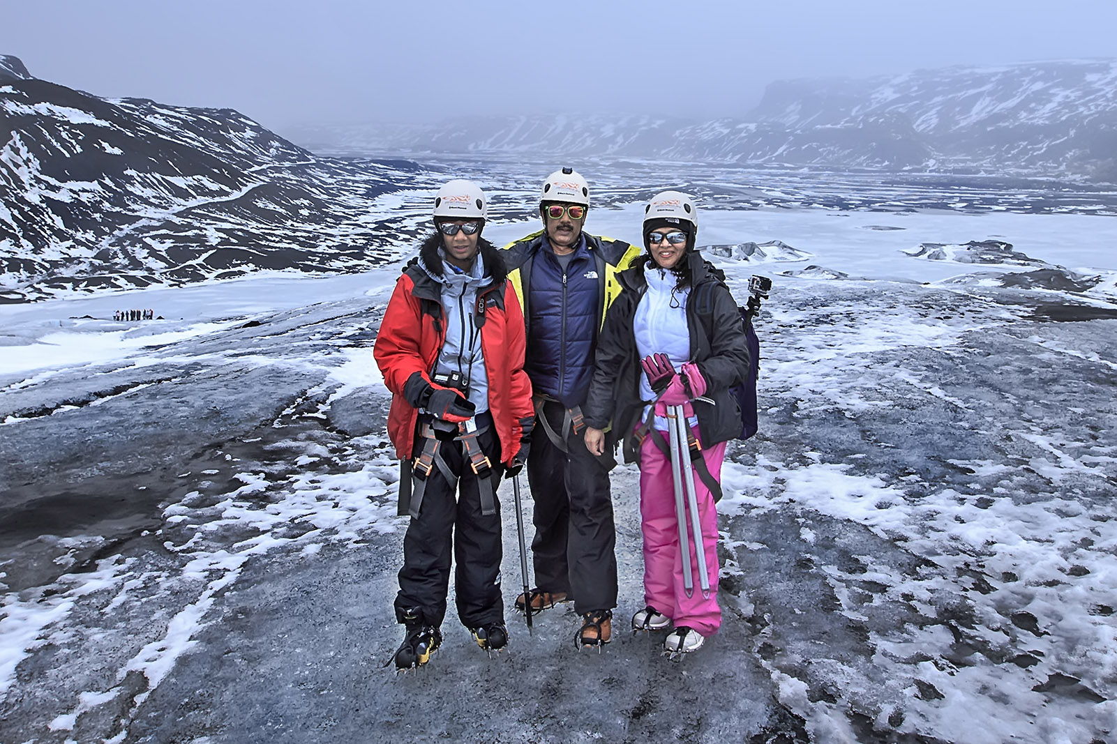 WITH  NITHIN  PREMJITH  &  SUJA  PREMJITH  AT THE TOP  OF  THE GLACIER,  ICELAND
