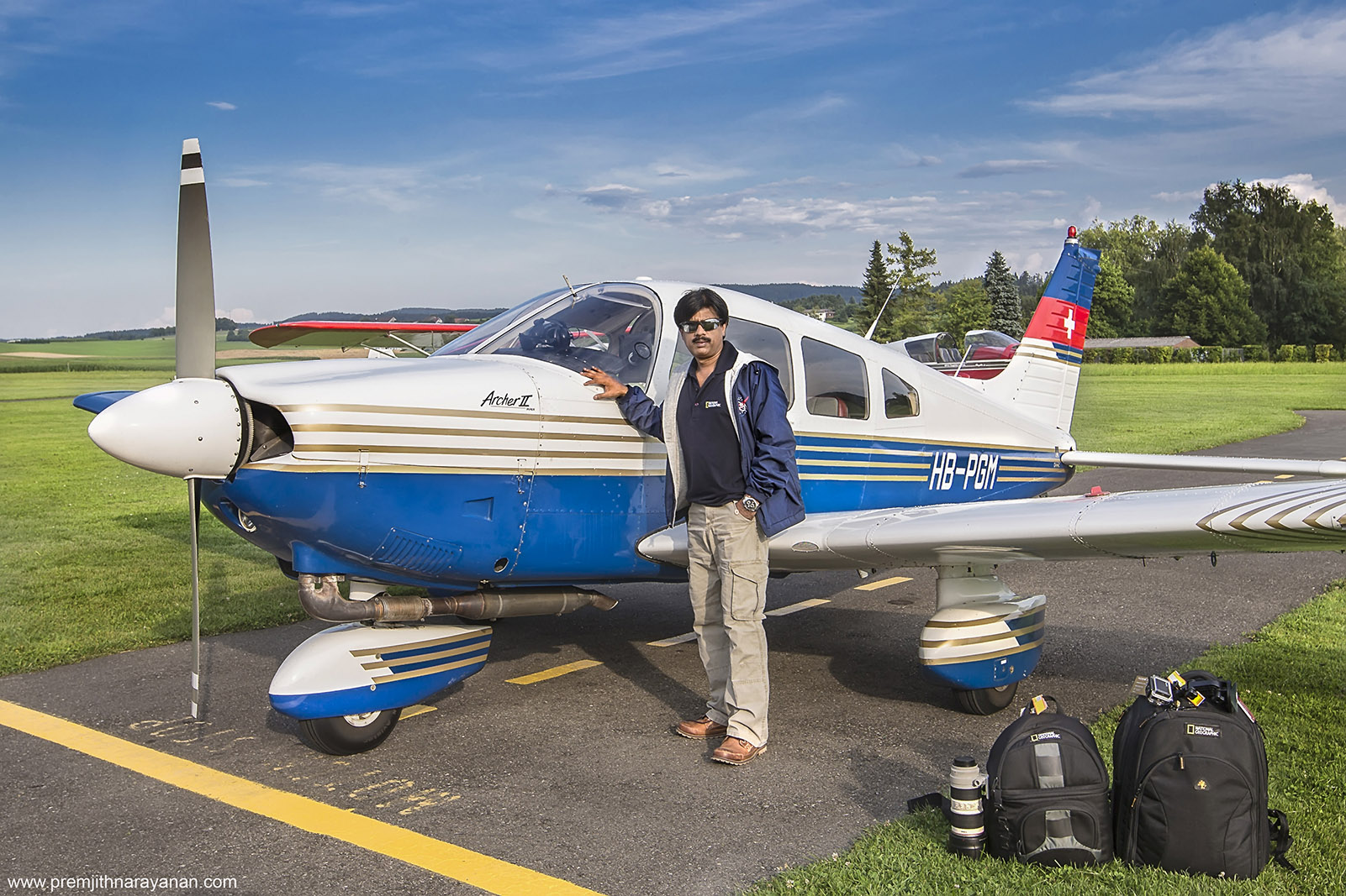 AT  LOMMIS  AIRFIELD  FOR  AERIAL  PHOTOGRAPHY,  SWITZERLAND