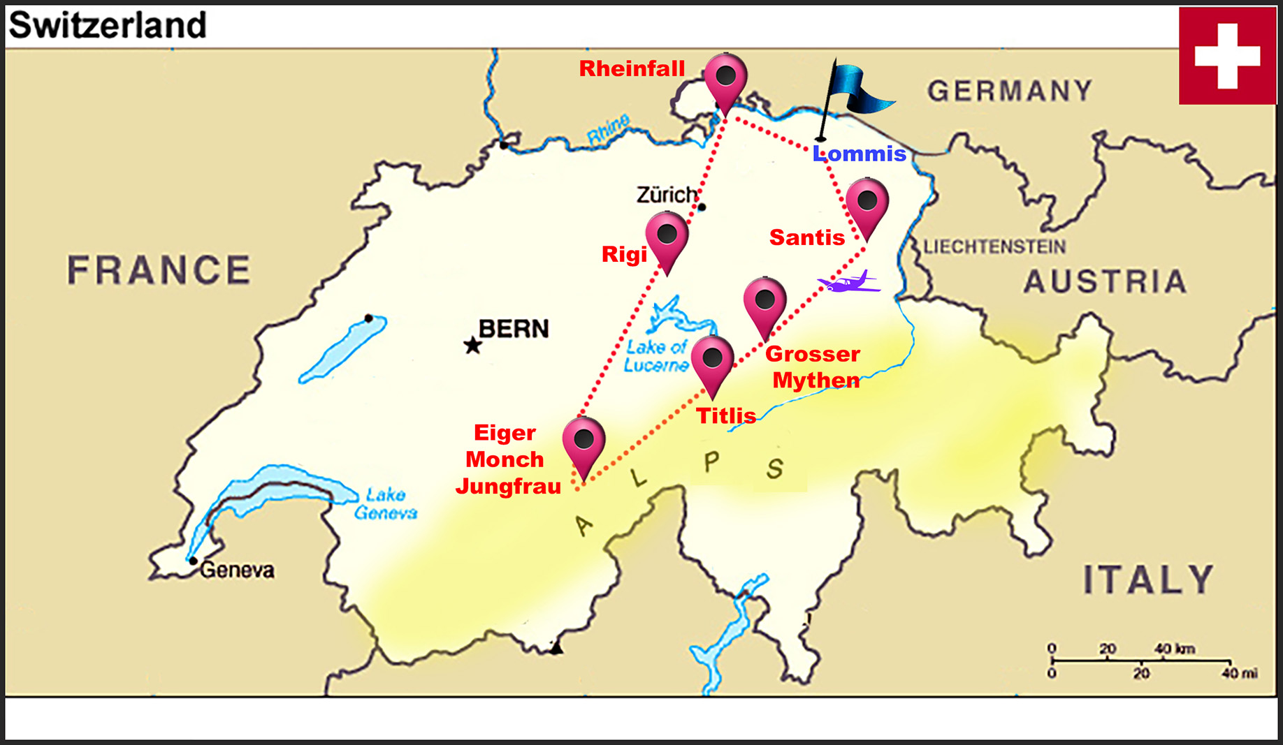 SWISS  MAP  SHOWING  THE  FLIGHT  ROUTE.