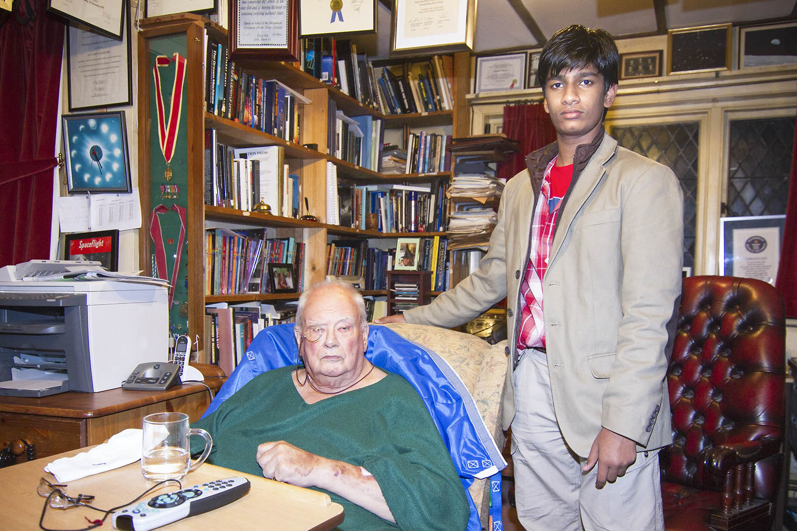 "With SIR ""PATRICK MOORE""  AT  HIS  RESIDENCE  IN  UK."