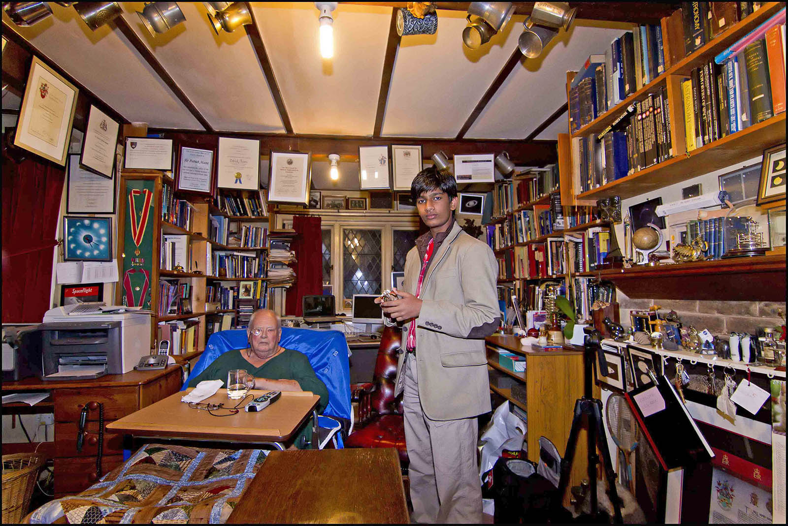With SIR  PATRICK MOORE  AT  HIS  RESIDENCE.