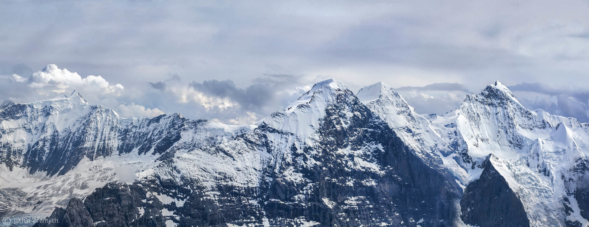 """EIGER - MONCH - JUNGFRAU"" MOUNTAINS  ( ON  THE  RIGHT  SIDE)."