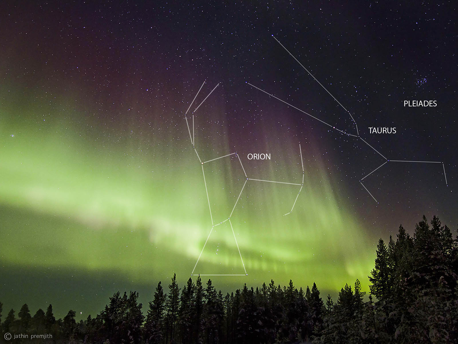 The award winning photo showing the different constellations