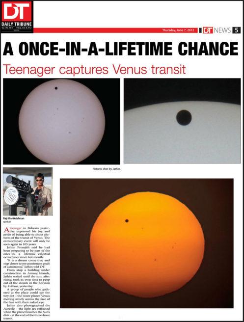 Daily Tribune, Transit of Venus