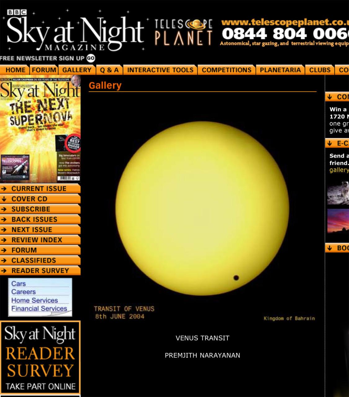 TRANSIT  OF  VENUS  PHOTO - IN  BBC  WEBSITE