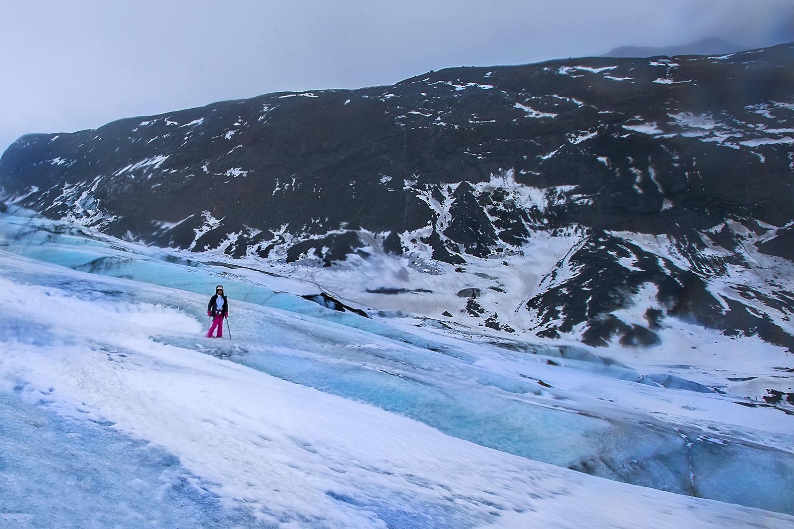 18. Coming down the glacier