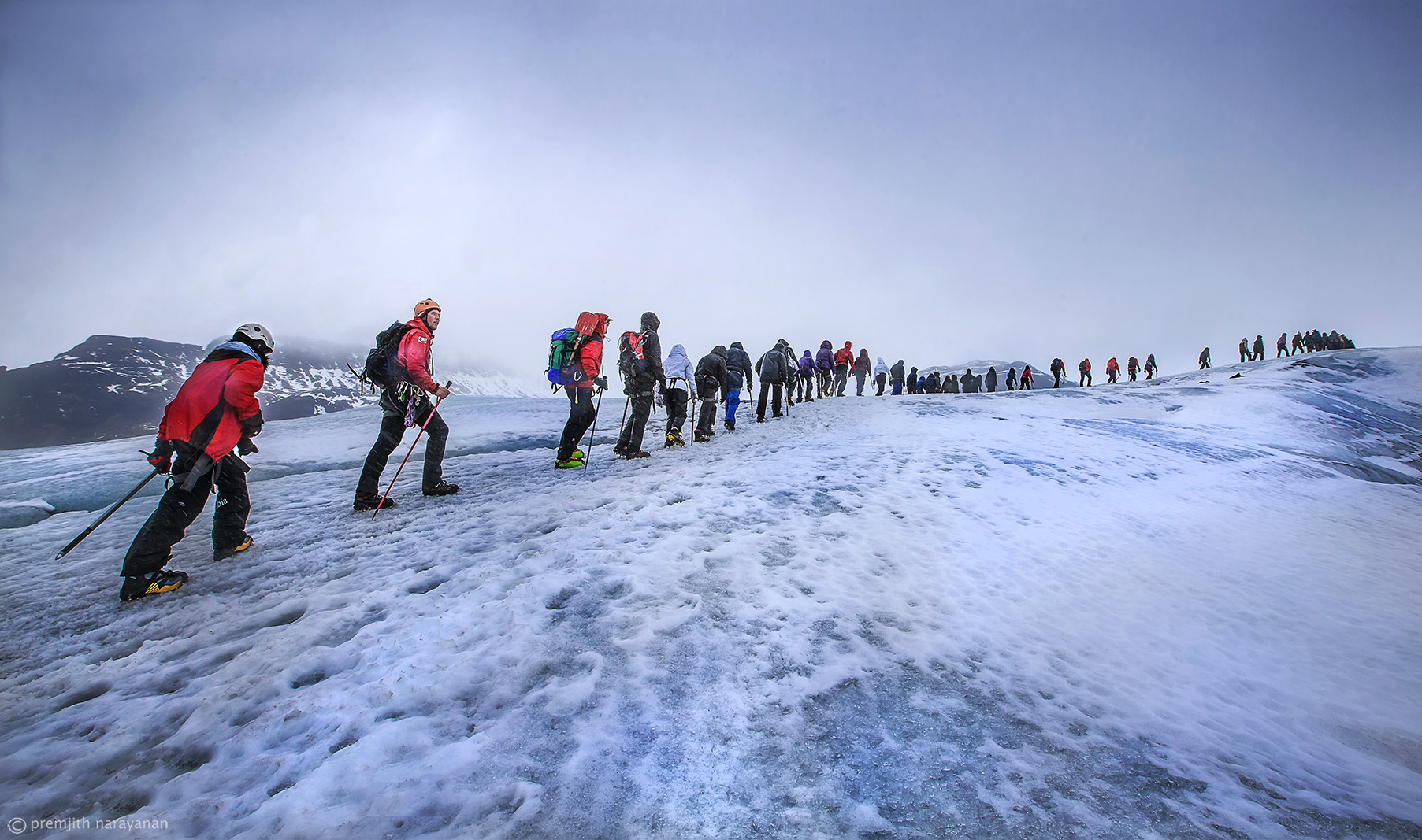 9. Climbing the glacier with the big group